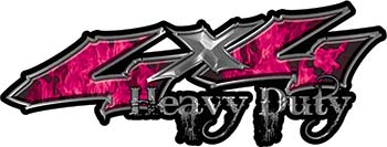 Heavy Duty Twisted Series 4x4 Truck Bedside or Fender Emblem Decals with Inferno Pink Flames