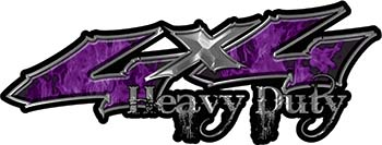 Heavy Duty Twisted Series 4x4 Truck Bedside or Fender Emblem Decals with Inferno Purple Flames