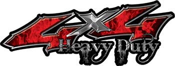 Heavy Duty Twisted Series 4x4 Truck Bedside or Fender Emblem Decals with Inferno Red Flames