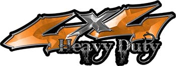 Heavy Duty Twisted Series 4x4 Truck Bedside or Fender Emblem Decals with Inferno Orange Flames