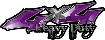 Heavy Duty Twisted Series 4x4 Truck Bedside or Fender Emblem Decals in Purple