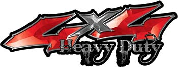 Heavy Duty Twisted Series 4x4 Truck Bedside or Fender Emblem Decals in Red