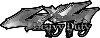 Heavy Duty Twisted Series 4x4 Truck Bedside or Fender Emblem Decals in Silver