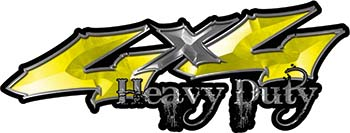 Heavy Duty Twisted Series 4x4 Truck Bedside or Fender Emblem Decals in Yellow