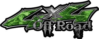 Off Road Twisted Series 4x4 Truck Bedside or Fender Emblem Decals in Camo Green