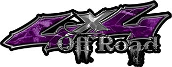 Off Road Twisted Series 4x4 Truck Bedside or Fender Emblem Decals in Camo Purple