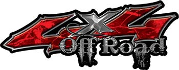 Off Road Twisted Series 4x4 Truck Bedside or Fender Emblem Decals in Camo Red