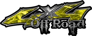 Off Road Twisted Series 4x4 Truck Bedside or Fender Emblem Decals in Camo Yellow