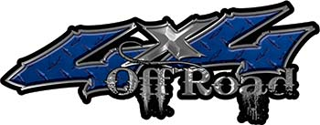 Off Road Twisted Series 4x4 Truck Bedside or Fender Emblem Decals in Diamond Plate Blue