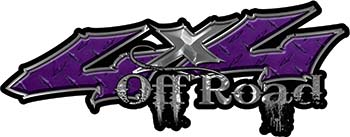 Off Road Twisted Series 4x4 Truck Bedside or Fender Emblem Decals in Diamond Plate Purple