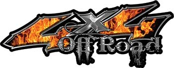Off Road Twisted Series 4x4 Truck Bedside or Fender Emblem Decals with Inferno Flames