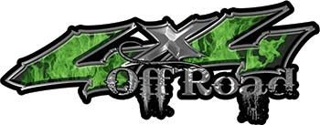 Off Road Twisted Series 4x4 Truck Bedside or Fender Emblem Decals with Inferno Green Flames