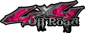 Off Road Twisted Series 4x4 Truck Bedside or Fender Emblem Decals with Inferno Pink Flames