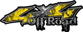 Off Road Twisted Series 4x4 Truck Bedside or Fender Emblem Decals with Inferno Yellow Flames