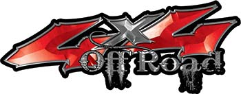 Off Road Twisted Series 4x4 Truck Bedside or Fender Emblem Decals in Red