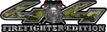 Firefighter Fire Department Maltese Cross 4x4 Fire Fighter Edition Decals in Camouflage