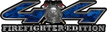 Firefighter Fire Department Maltese Cross 4x4 Fire Fighter Edition Decals in Blue Camouflage