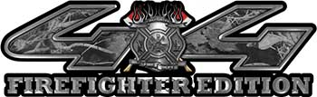 Firefighter Fire Department Maltese Cross 4x4 Fire Fighter Edition Decals in Gray Camouflage