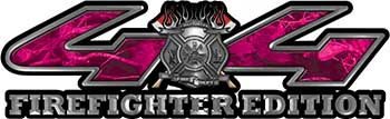 Firefighter Fire Department Maltese Cross 4x4 Fire Fighter Edition Decals in Pink Camouflage