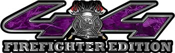 Firefighter Fire Department Maltese Cross 4x4 Fire Fighter Edition Decals in Purple Camouflage