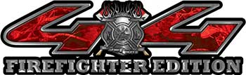 Firefighter Fire Department Maltese Cross 4x4 Fire Fighter Edition Decals in Red Camouflage