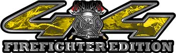 Firefighter Fire Department Maltese Cross 4x4 Fire Fighter Edition Decals in Yellow Camouflage