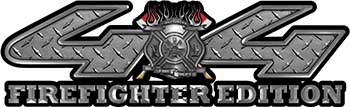 Firefighter Fire Department Maltese Cross 4x4 Fire Fighter Edition Decals in Diamond Plate