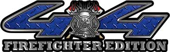 Firefighter Fire Department Maltese Cross 4x4 Fire Fighter Edition Decals in Blue Diamond Plate