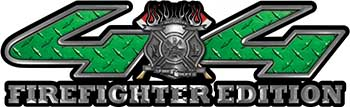 Firefighter Fire Department Maltese Cross 4x4 Fire Fighter Edition Decals in Green Diamond Plate