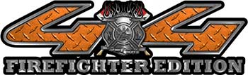 Firefighter Fire Department Maltese Cross 4x4 Fire Fighter Edition Decals in Orange Diamond Plate