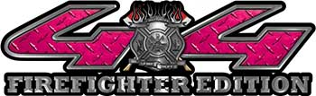 Firefighter Fire Department Maltese Cross 4x4 Fire Fighter Edition Decals in Pink Diamond Plate