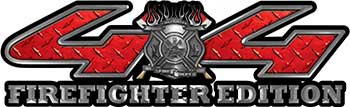 Firefighter Fire Department Maltese Cross 4x4 Fire Fighter Edition Decals in Red Diamond Plate
