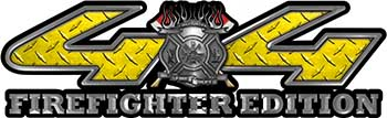 Firefighter Fire Department Maltese Cross 4x4 Fire Fighter Edition Decals in Yellow Diamond Plate