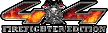 Firefighter Fire Department Maltese Cross 4x4 Fire Fighter Edition Decals in Fire