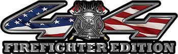 Firefighter Fire Department Maltese Cross 4x4 Fire Fighter Edition Decals with American Flag