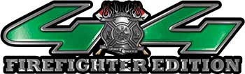 Firefighter Fire Department Maltese Cross 4x4 Fire Fighter Edition Decals in Green