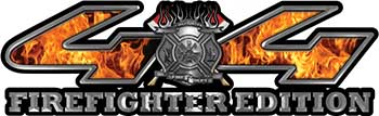 Firefighter Fire Department Maltese Cross 4x4 Fire Fighter Edition Decals in Inferno