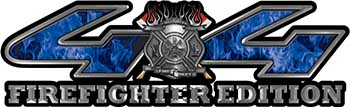 Firefighter Fire Department Maltese Cross 4x4 Fire Fighter Edition Decals in Blue Inferno
