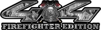 Firefighter Fire Department Maltese Cross 4x4 Fire Fighter Edition Decals in Gray Inferno