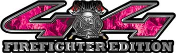 Firefighter Fire Department Maltese Cross 4x4 Fire Fighter Edition Decals in Pink Inferno