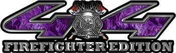 Firefighter Fire Department Maltese Cross 4x4 Fire Fighter Edition Decals in Purple Inferno