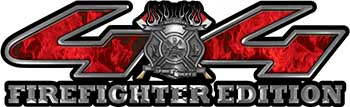 Firefighter Fire Department Maltese Cross 4x4 Fire Fighter Edition Decals in Red Inferno
