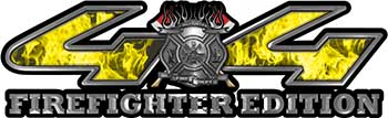 Firefighter Fire Department Maltese Cross 4x4 Fire Fighter Edition Decals in Yellow Inferno