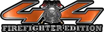 Firefighter Fire Department Maltese Cross 4x4 Fire Fighter Edition Decals in Orange