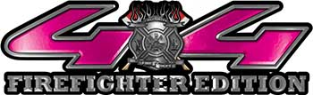 Firefighter Fire Department Maltese Cross 4x4 Fire Fighter Edition Decals in Pink