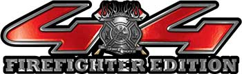 Firefighter Fire Department Maltese Cross 4x4 Fire Fighter Edition Decals in Red