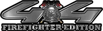 Firefighter Fire Department Maltese Cross 4x4 Fire Fighter Edition Decals in Silver
