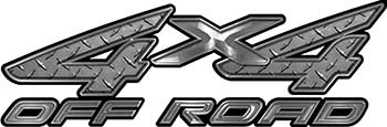 4x4 Off Road ATV Truck or SUV Decals in Diamond Plate