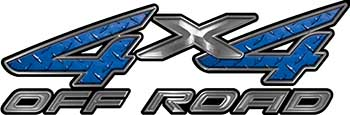 4x4 Off Road ATV Truck or SUV Decals in Blue Diamond Plate
