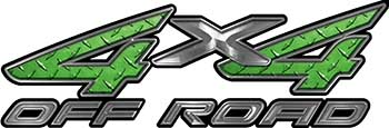 4x4 Off Road ATV Truck or SUV Decals in Green Diamond Plate